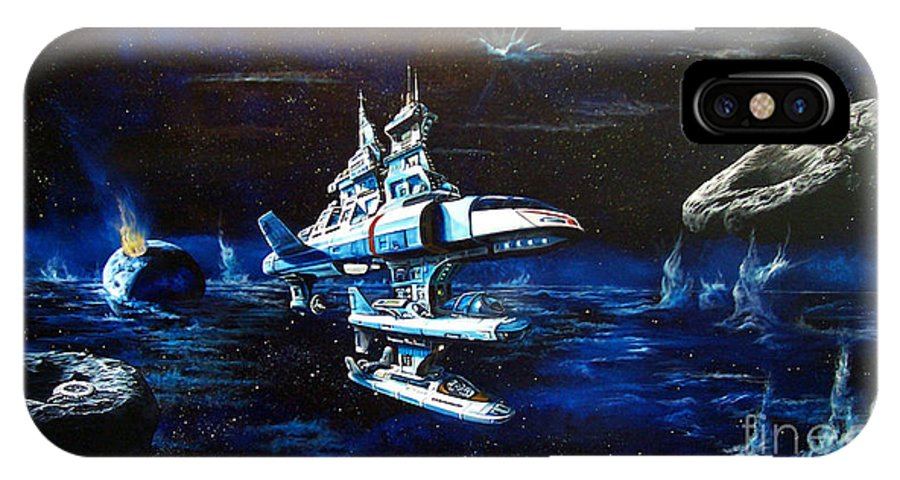 Alien IPhone X Case featuring the painting Stellar Cruiser by Murphy Elliott