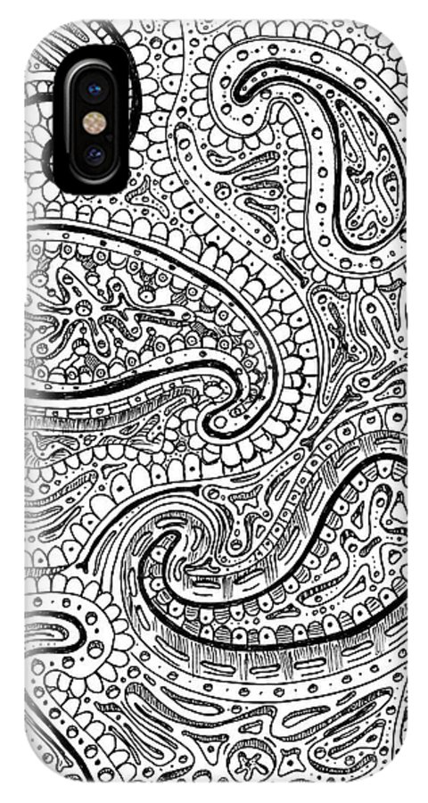 Paisley Flower Doodle Drawing IPhone X Case featuring the drawing Stem Cells by Shawn Hempel