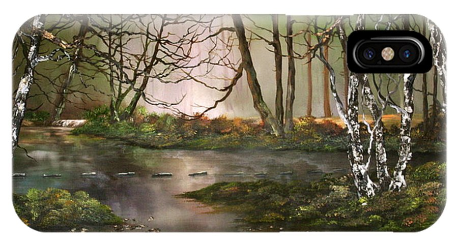 Cannock Chase IPhone X Case featuring the painting Stepping Stones On Cannock Chase by Jean Walker