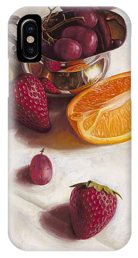 Still Life IPhone X Case featuring the painting Still Life Reflections by Ron Crabb