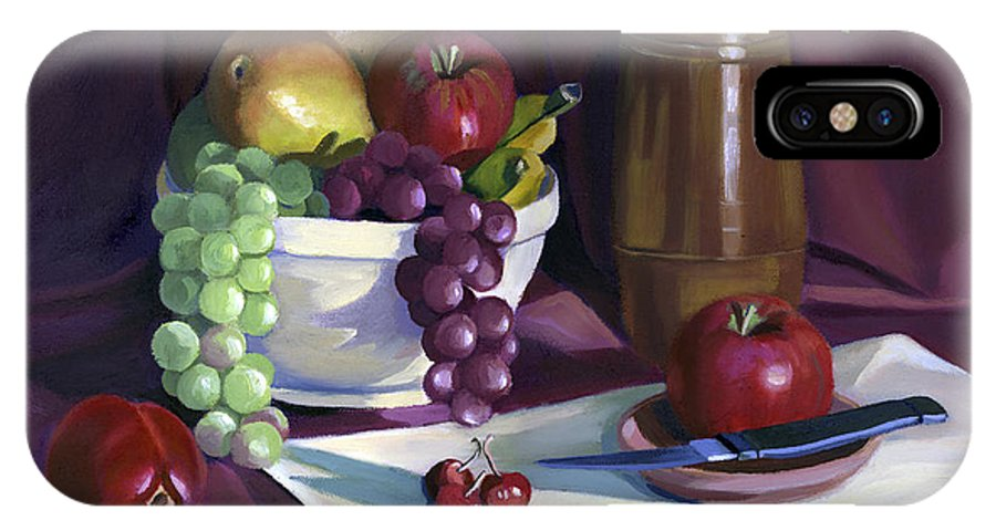 Fine Art IPhone X Case featuring the painting Still Life with Apples by Nancy Griswold