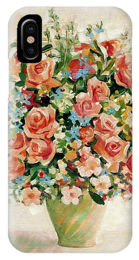 Flowers IPhone X Case featuring the painting Still Life With Roses by Iliyan Bozhanov
