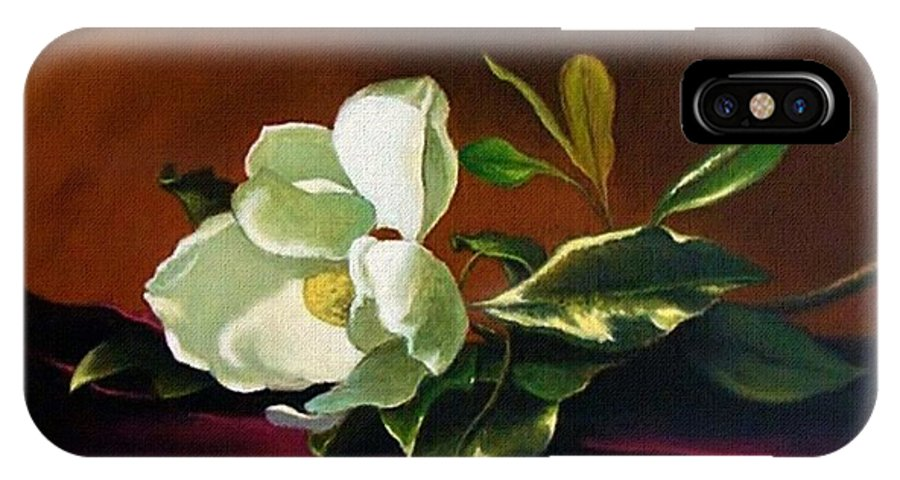 Still Life IPhone X Case featuring the painting Still Life With White Flower by Daniel Arago