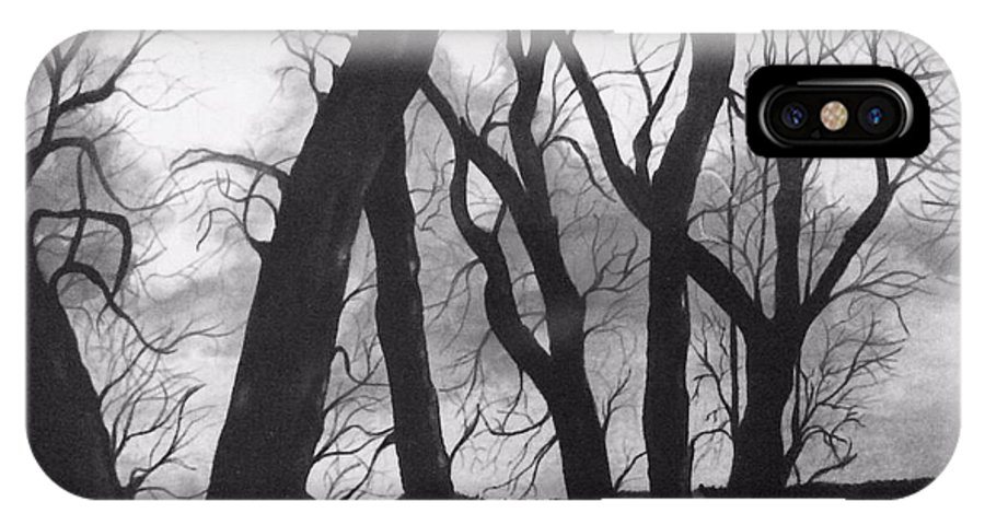 Trees IPhone X / XS Case featuring the painting Still Of The Night by Nancy Hanrath