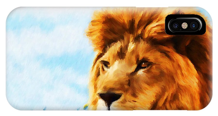 Lion IPhone X Case featuring the mixed media Still The King by Tyler Robbins