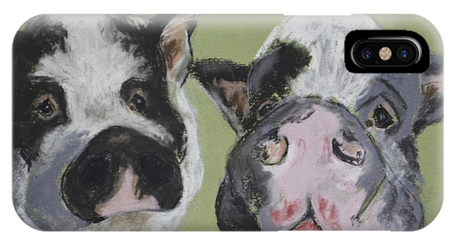 Pot Bellied Pigs IPhone X Case featuring the drawing Stirring The Pot by Cori Solomon