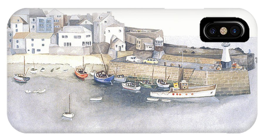 St.ives IPhone X Case featuring the painting St.ives Cornwall England by Peter Laughton