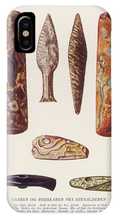 Stone IPhone X Case featuring the drawing Stone Age Artifacts From Norway - Tools by Mary Evans Picture Library