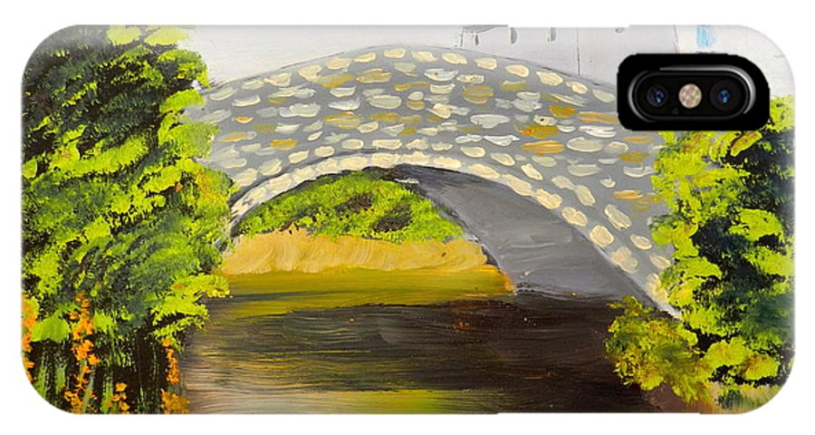Impressionism IPhone X / XS Case featuring the painting Stone Bridge At Burrowford Uk by Pamela Meredith