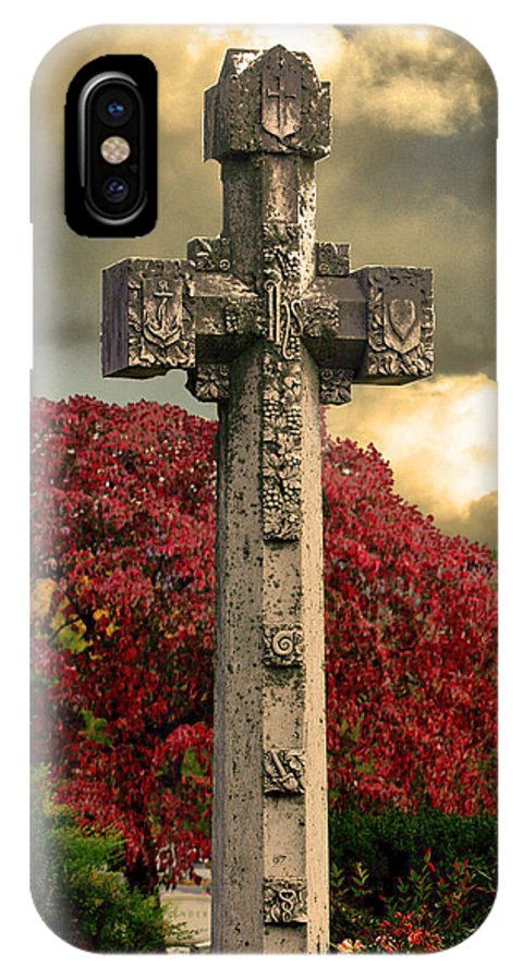 Cross IPhone X / XS Case featuring the photograph Stone Cross In Fall Garden by Lesa Fine