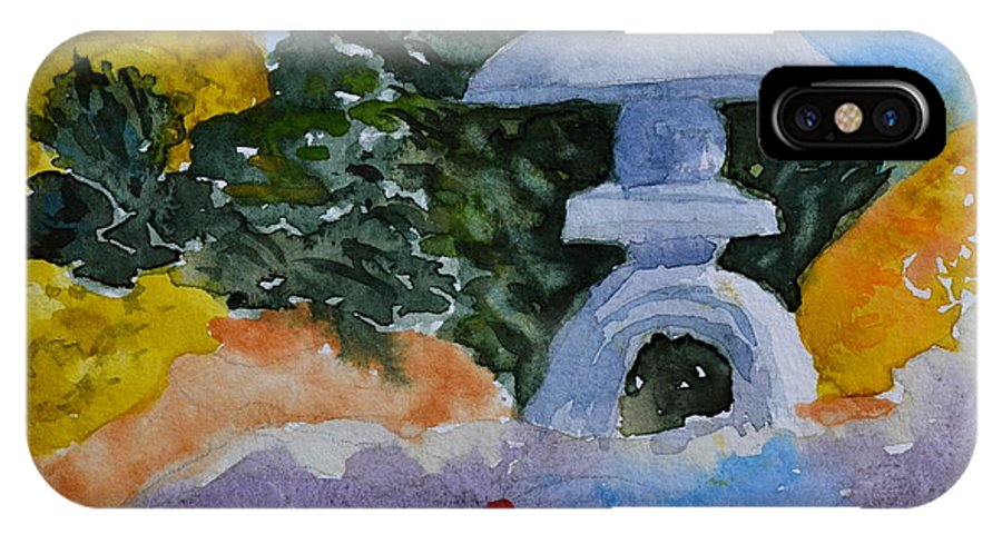 Japanese IPhone X Case featuring the painting Stone Lantern by Beverley Harper Tinsley