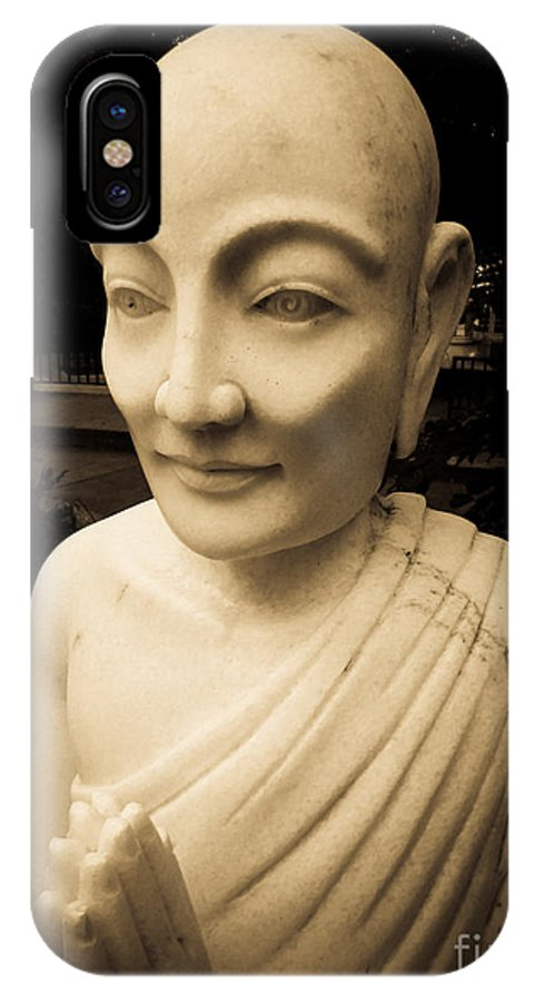 Ancient IPhone X Case featuring the photograph Stone Monk by Angela Wright