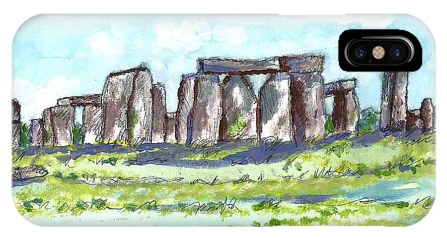 England IPhone X Case featuring the painting Stonehenge by Patrick Grills
