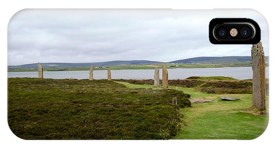 Ring Of Brodgar IPhone X Case featuring the photograph Stones In Arc Of Ring Of Brodgar by Denise Mazzocco