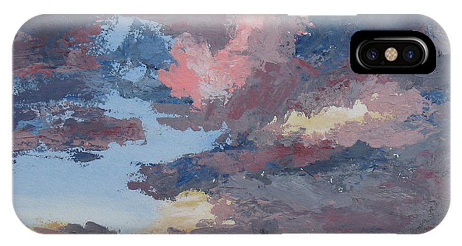 Stormy Sky IPhone X Case featuring the painting Storm A Brewin by Janis Mock-Jones