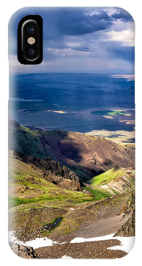 Steens IPhone X Case featuring the photograph Storm Above The Alvord Desert by Kathleen Bishop