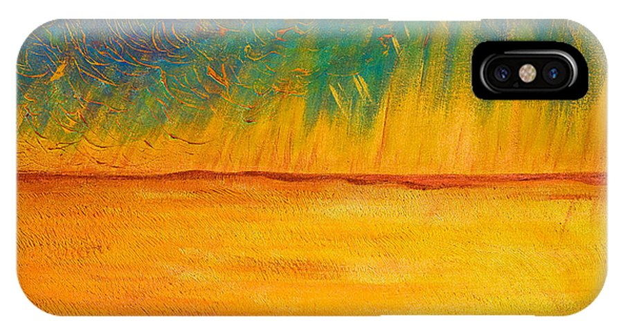 Acrylic IPhone X / XS Case featuring the painting Storm Over Canola Field by Jo-Anne Elniski