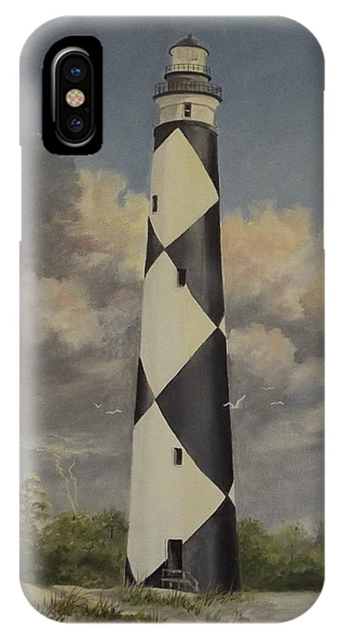 Stormy Skys IPhone X Case featuring the painting Storm Over Cape Fear by Wanda Dansereau