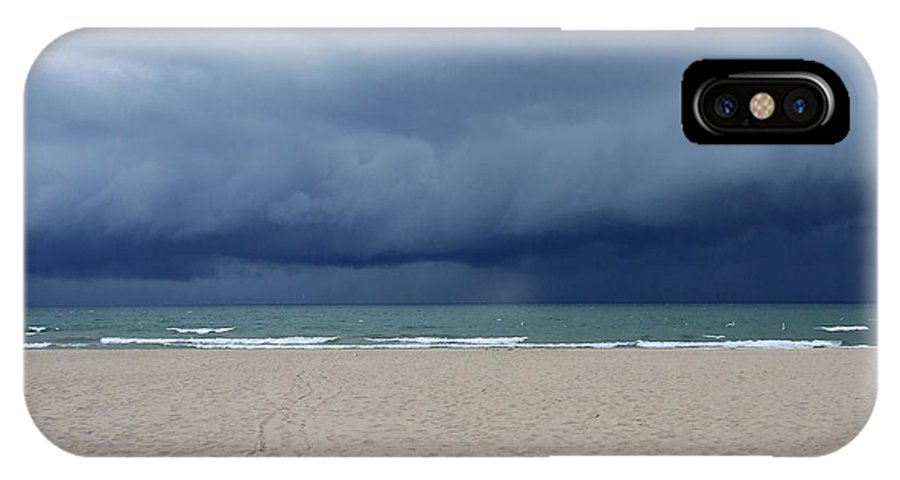 Storm IPhone X Case featuring the photograph Storm Over Lake Michigan by Susan Wyman