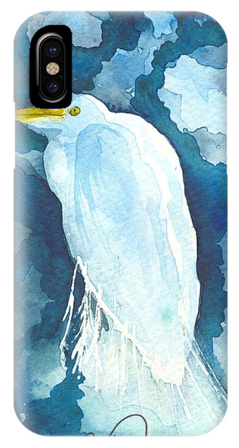 Egret IPhone X Case featuring the painting Stormy Egret by Christine Callahan