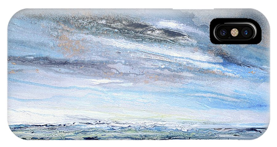 Blue IPhone X Case featuring the mixed media Stormy Sky Hauxley Haven Series Blue by Mike  Bell