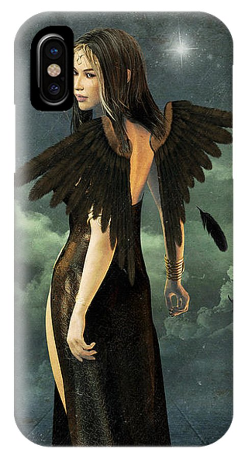 Angel IPhone X Case featuring the digital art Stormy Weather by Tori Beveridge
