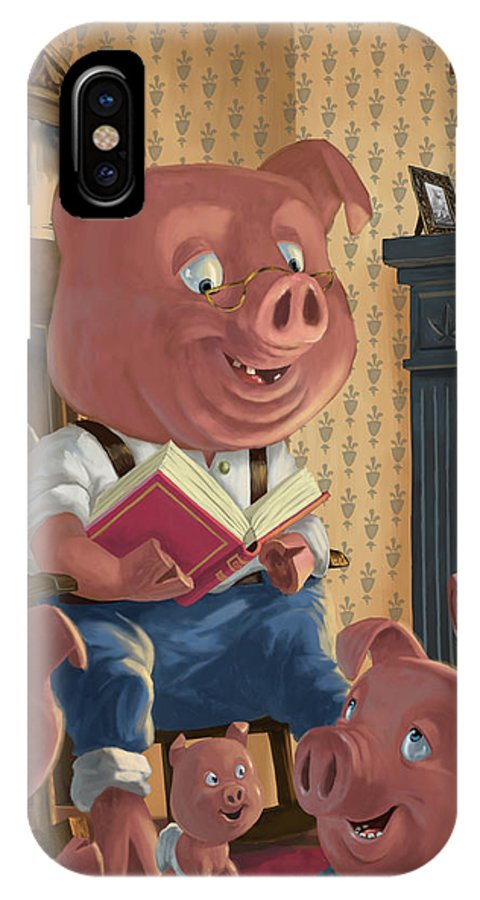 Story Telling IPhone X Case featuring the painting Story Telling Pig With Family by Martin Davey