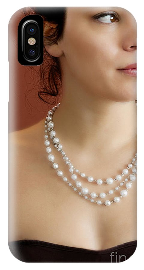 Woman; Lady; Female; Beautiful; Elegant; Formal; Pearls; String; Wealthy; Expensive; Strapless; Dress; Skin; Up Do; Caucasian; Curls; Red; Love; Lust; Chest; Shoulders IPhone X Case featuring the photograph Strand Of Pearls by Margie Hurwich
