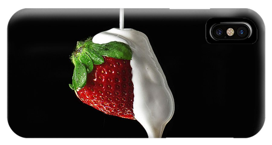 Strawberry IPhone X / XS Case featuring the photograph Strawberry And Cream by Monica Quintana