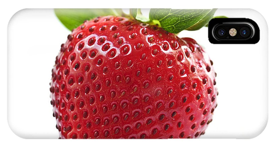 Strawberry IPhone X / XS Case featuring the photograph Strawberry On White Background by Elena Elisseeva