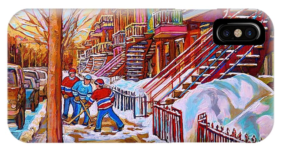 Montreal IPhone X Case featuring the painting Street Hockey Game In Montreal Winter Scene With Winding Staircases Painting By Carole Spandau by Carole Spandau