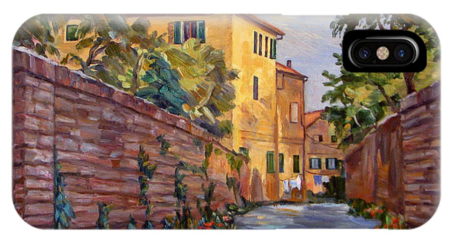 Sienna IPhone X Case featuring the painting Street Scene Sienna Tuscany by Robert Gerdes