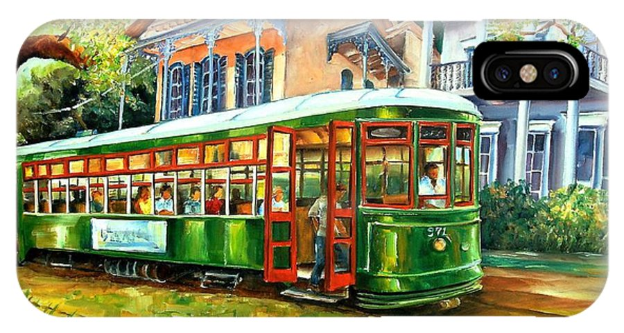New Orleans IPhone X Case featuring the painting Streetcar On St.charles Avenue by Diane Millsap