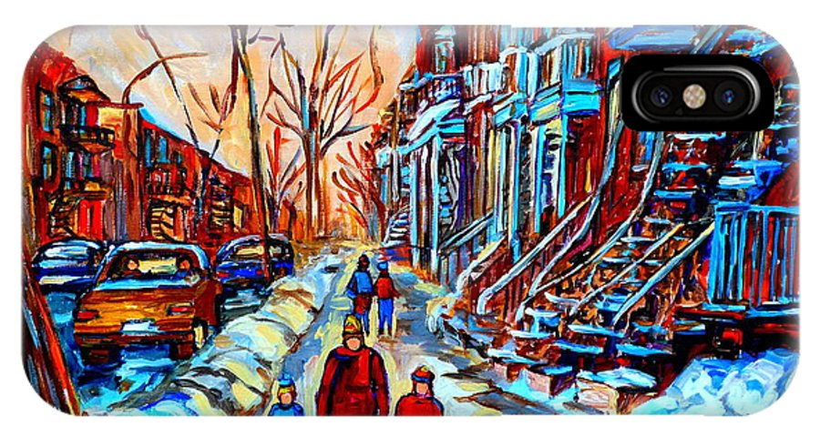 Montreal IPhone X / XS Case featuring the painting Streets Of Montreal by Carole Spandau