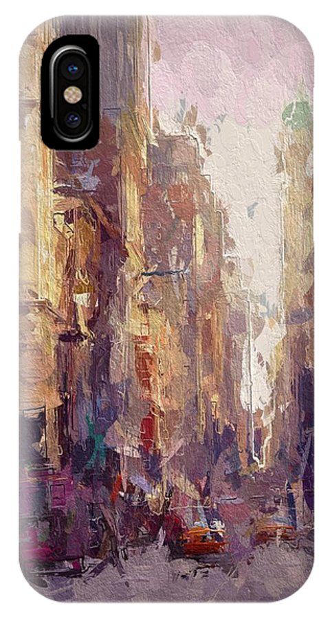 New York Street Skyscraper City Cityscape Busy Urban Life Building Abstract Expressionism Impressionism Nyc Architecture Oil Painting IPhone X Case featuring the painting Streets Of New York by Steve K
