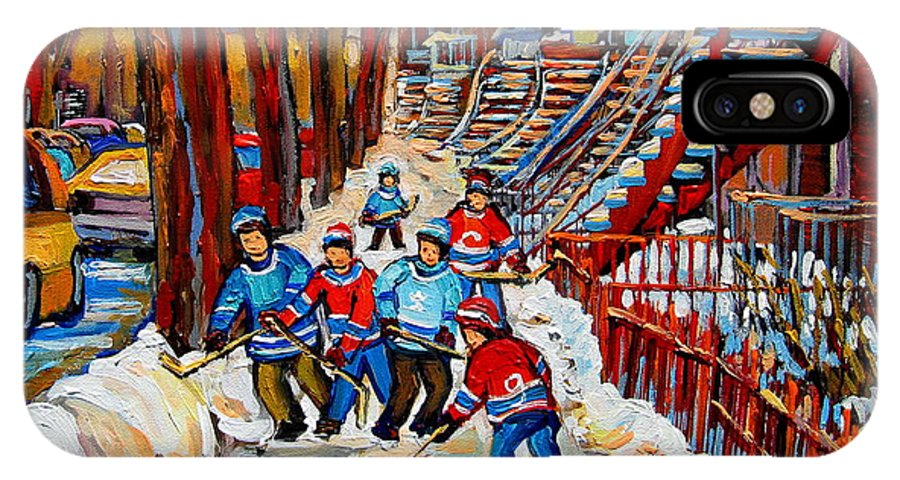 Montreal IPhone X Case featuring the painting Streets Of Verdun Hockey Art Montreal Street Scene With Outdoor Winding Staircases by Carole Spandau