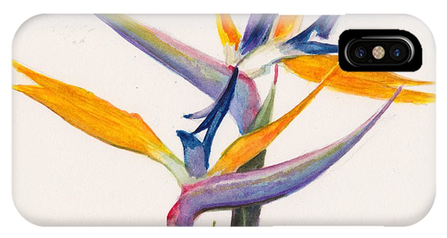 Floral IPhone X / XS Case featuring the painting Strelitzia Flowers by Dai Wynn