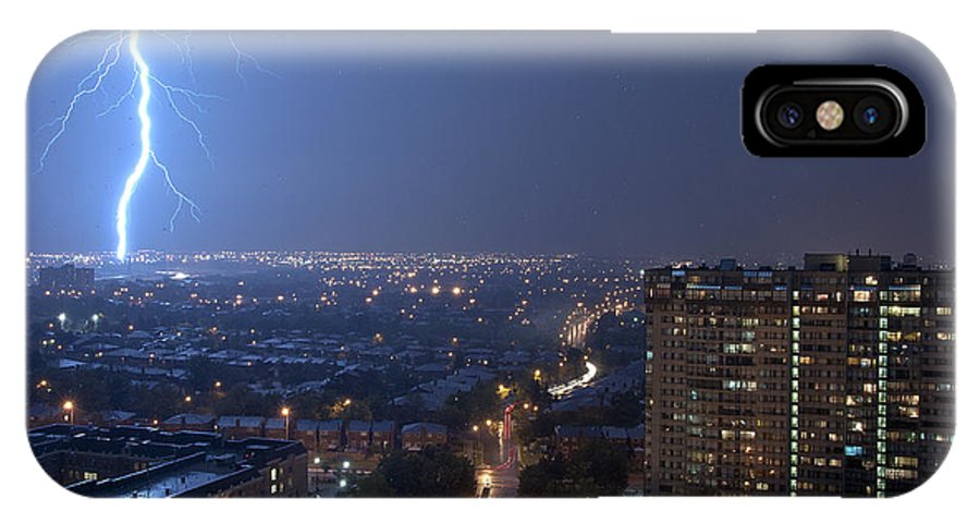 Night IPhone X Case featuring the photograph Strike It... by Les Lorek