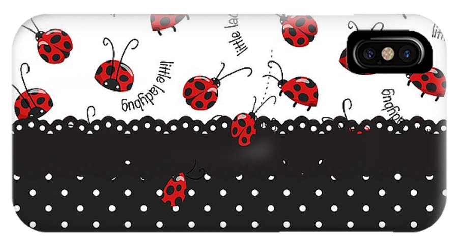 Ladybugs IPhone X Case featuring the digital art String Of Ladybugs by Debra Miller