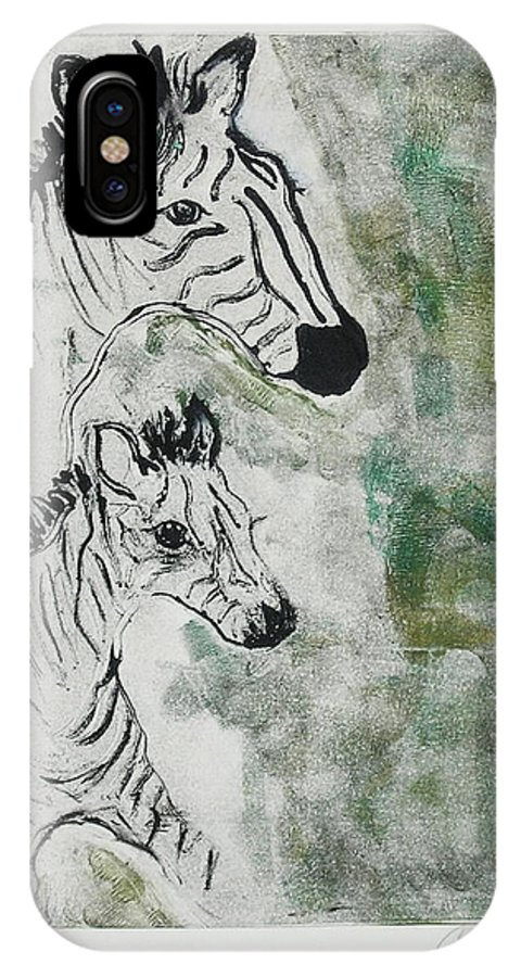 Zebras IPhone X Case featuring the mixed media Striped Duet by Cori Solomon