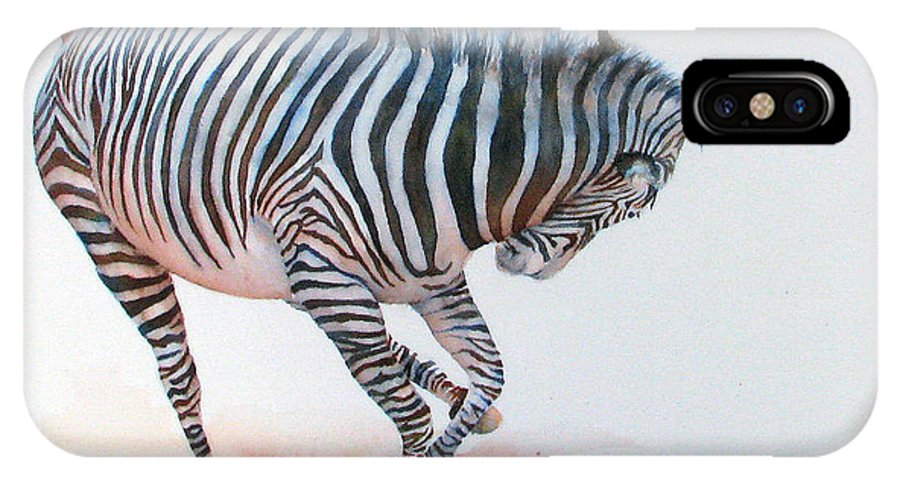 Zebra IPhone Case featuring the painting Stripes IIi by Patricia Henderson