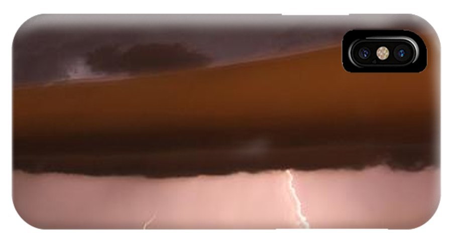 Stormscape IPhone X Case featuring the photograph Strong Late Night Nebraska Shelf Cloud by NebraskaSC