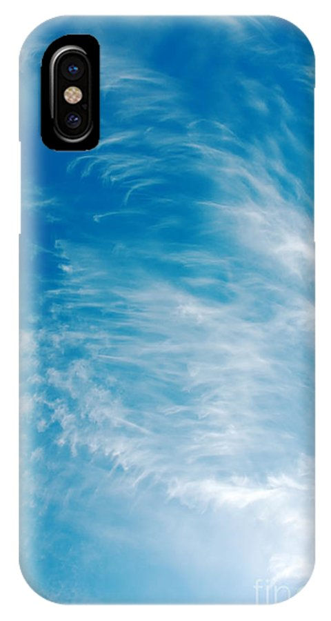 Backgrounds IPhone X Case featuring the photograph Strong Winds Forming Cirrus Clouds With A Deep Blue Sky. by Jan Brons