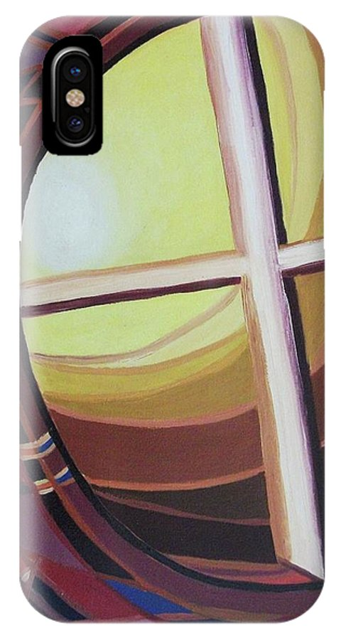 Abstract IPhone X Case featuring the painting Struggle by Suzanne Marie Leclair