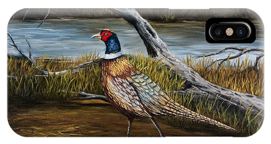 Bird IPhone X Case featuring the painting Strutting Pheasant by Darice Machel McGuire