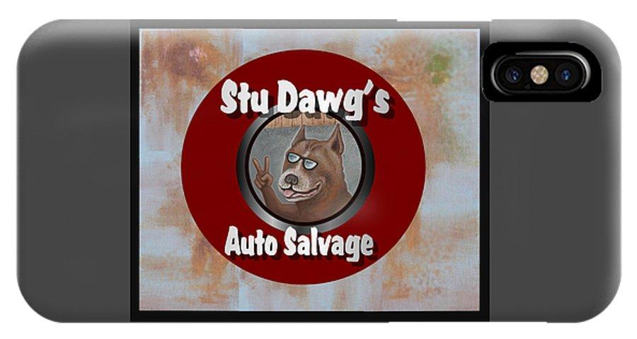 Logo IPhone X Case featuring the digital art Stu Dawg's Auto Salvage by Stuart Swartz