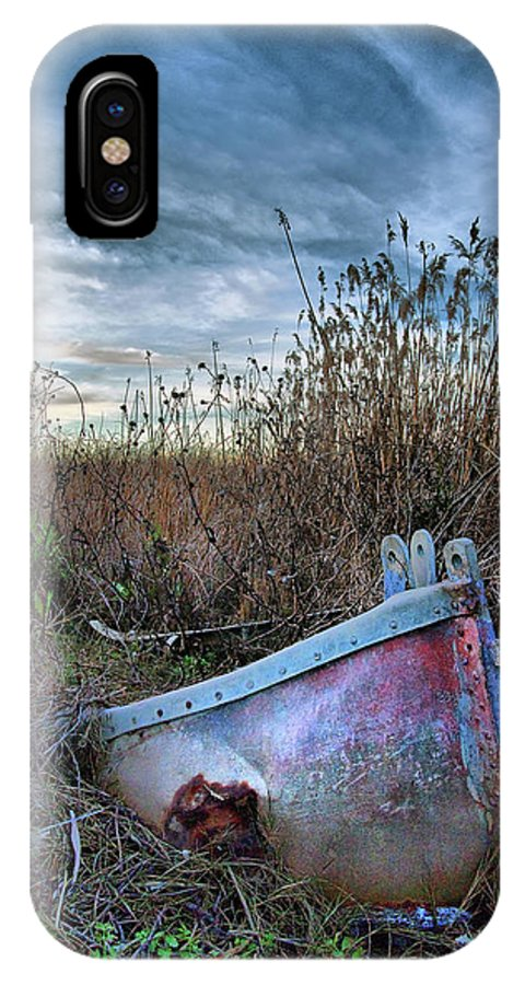Sunken IPhone X Case featuring the photograph Stuck In The Marsh by Michael Ayers