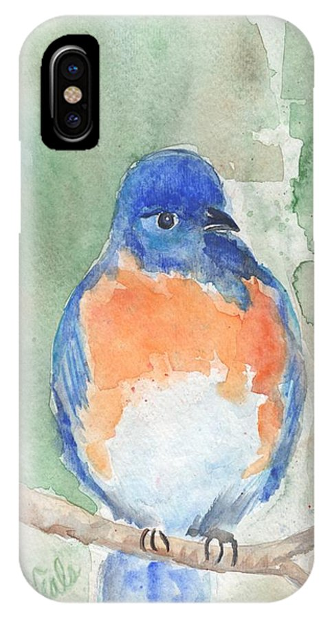 Bluebird IPhone X Case featuring the painting Study Of A Bluebird by Bev Veals