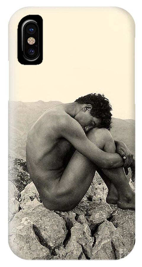 Gloeden IPhone X Case featuring the photograph Study Of A Male Nude On A Rock In Taormina Sicily by Wilhelm von Gloeden