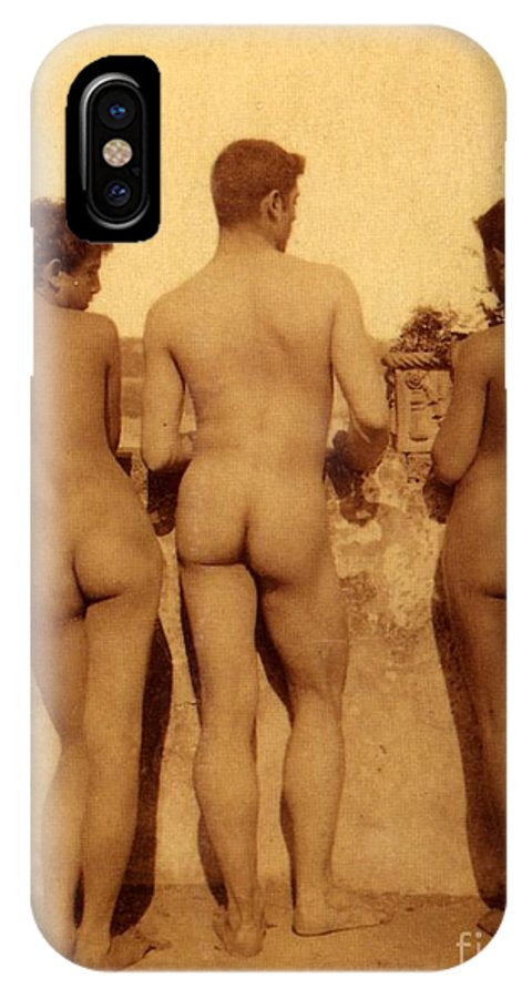 Gloeden IPhone X Case featuring the photograph Study Of Three Male Nudes by Wilhelm von Gloeden